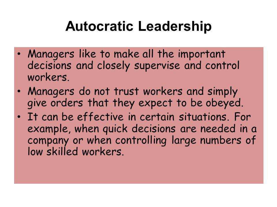 Authoritarian Leadership: Use Sparingly!