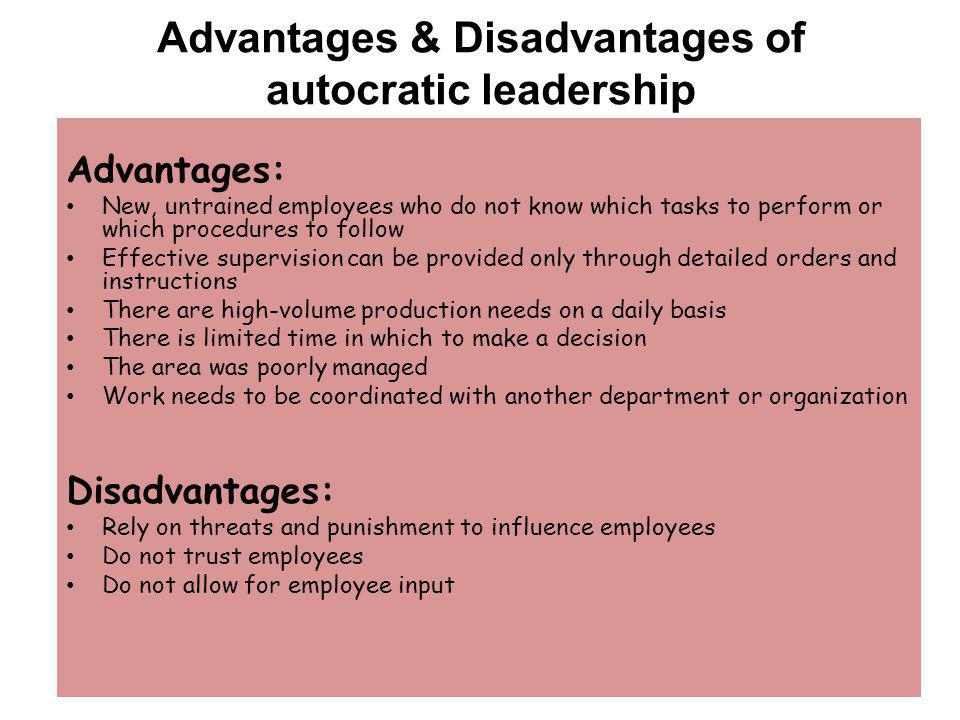 the advantage and disadvantage of bureaucratic leadership The styles of leadership: a critical review common styles include autocratic, bureaucratic, leadership and laissez-faire in the past several decades.