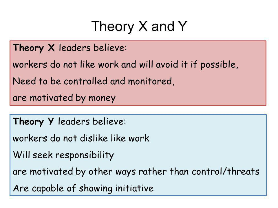 Theory X and Y Theory X leaders believe: