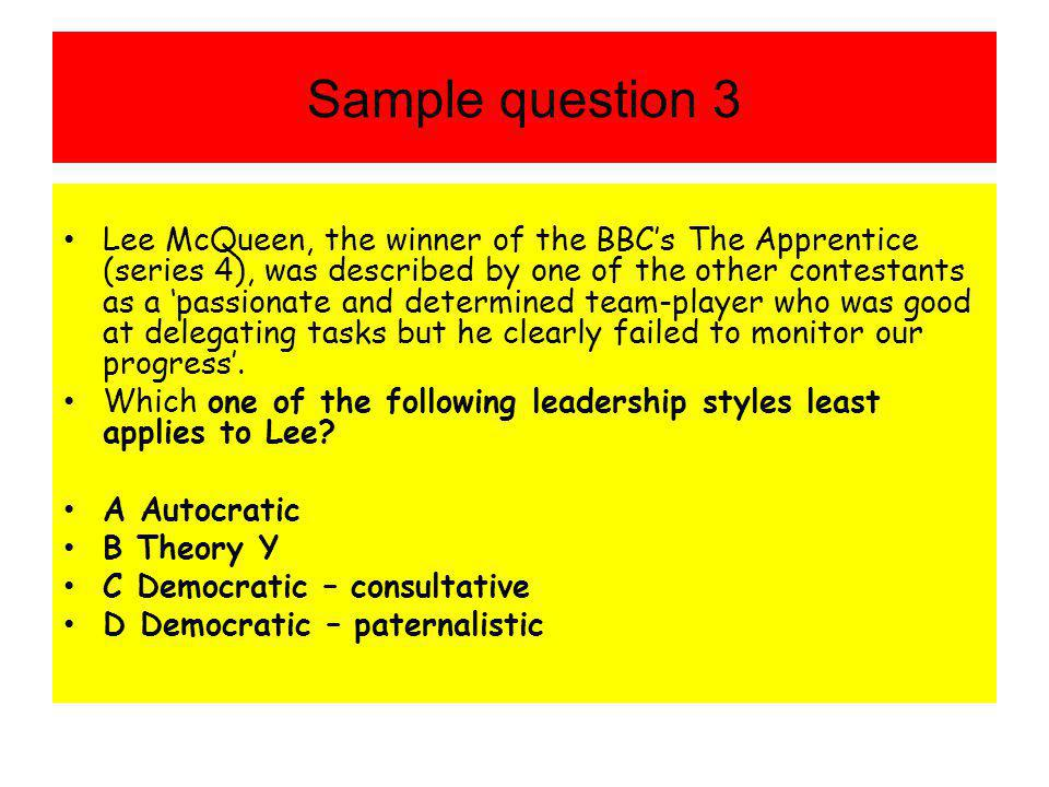 Sample question 3