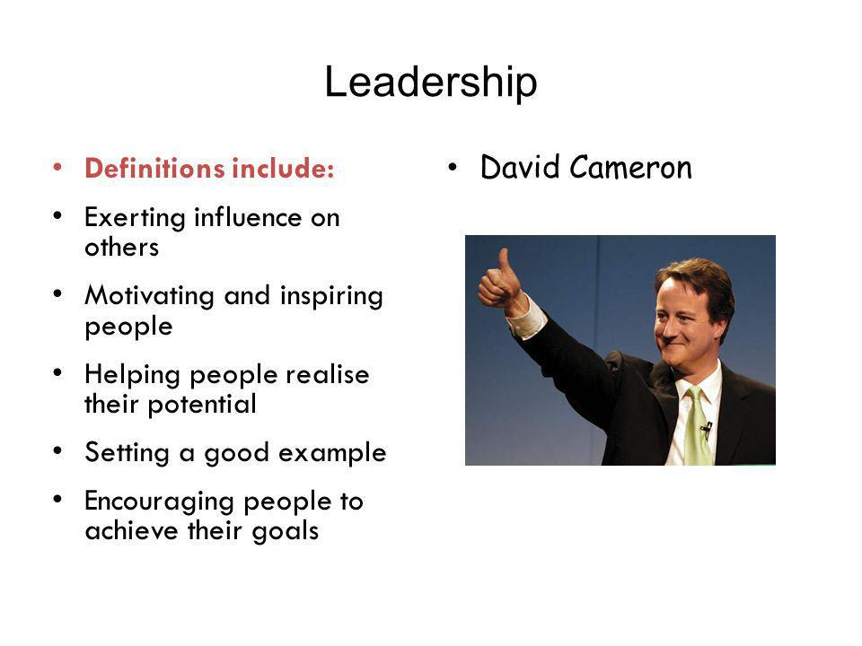 Leadership Definitions include: Exerting influence on others