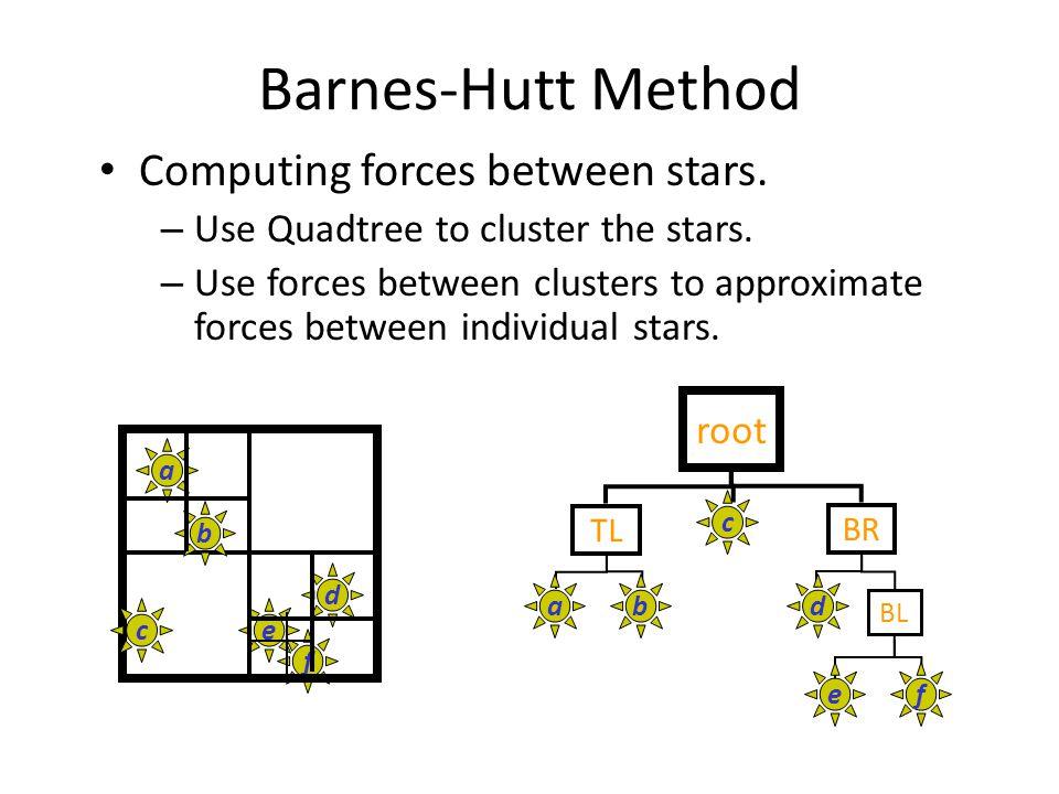 Barnes-Hutt Method Computing forces between stars.