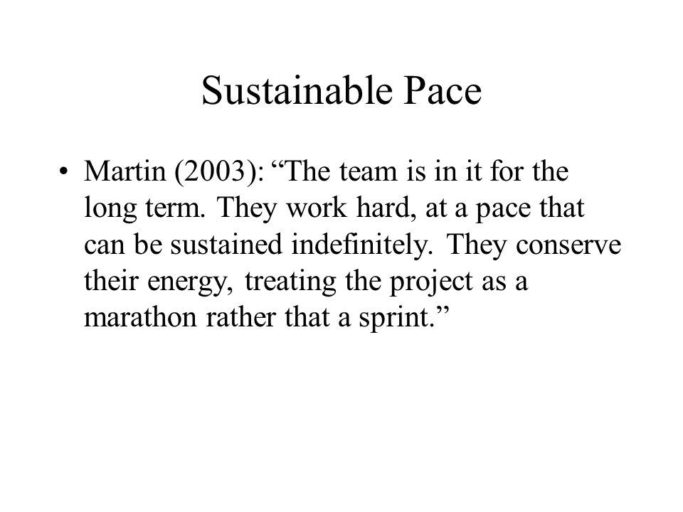 Sustainable Pace