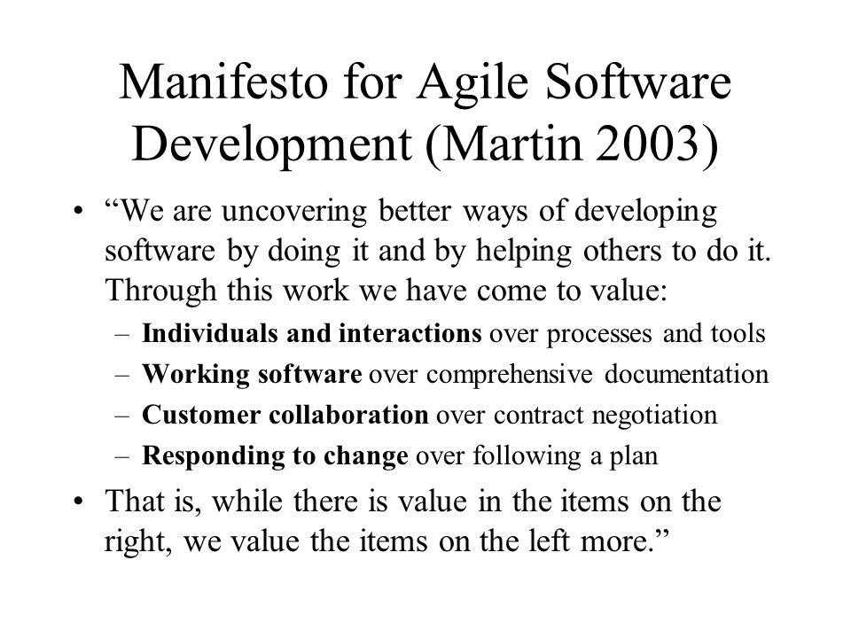 Manifesto for Agile Software Development (Martin 2003)