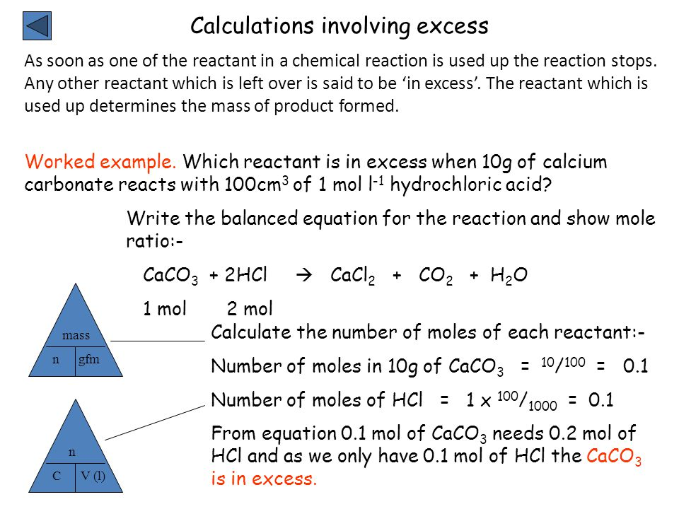 Calculations involving excess