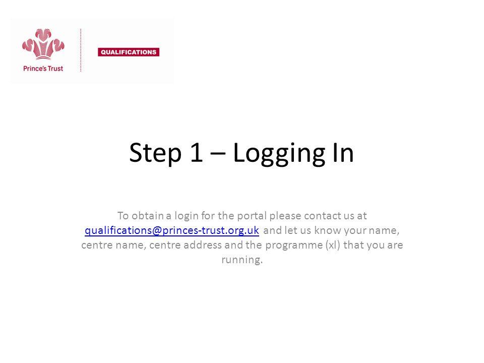 Step 1 – Logging In