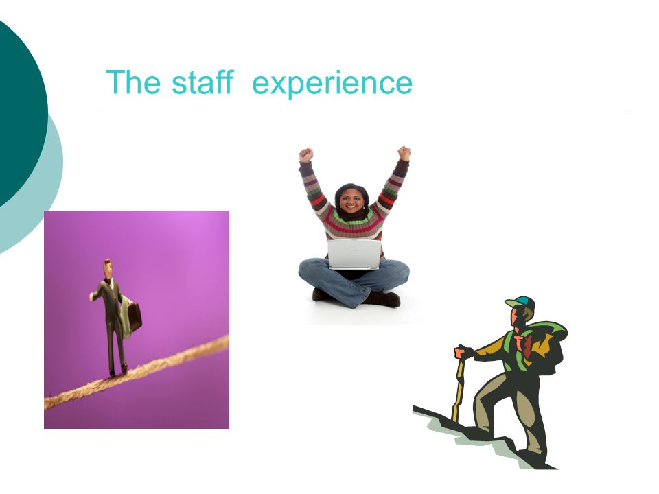 The staff experience My observations of staff- A mixed experience for staff – varied over time