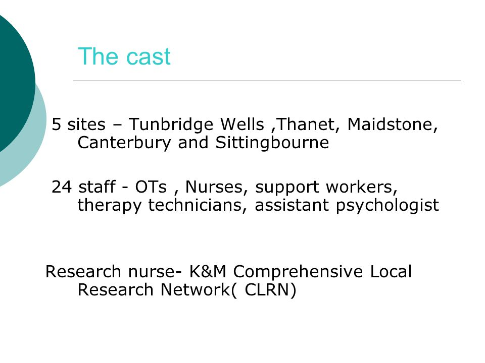 The cast 5 sites – Tunbridge Wells ,Thanet, Maidstone, Canterbury and Sittingbourne.