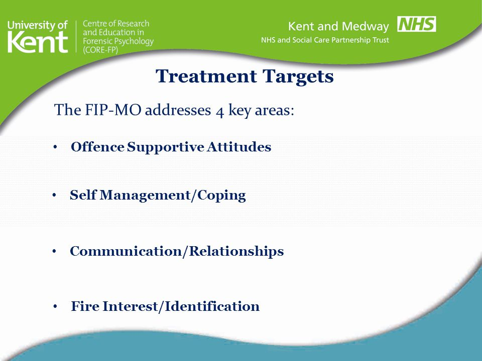 Treatment Targets The FIP-MO addresses 4 key areas: