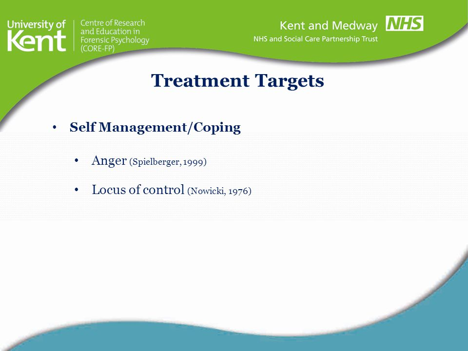 Treatment Targets Self Management/Coping Anger (Spielberger, 1999)