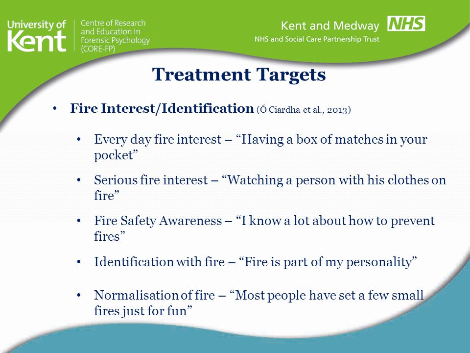 Treatment Targets Fire Interest/Identification (Ó Ciardha et al., 2013) Every day fire interest – Having a box of matches in your pocket