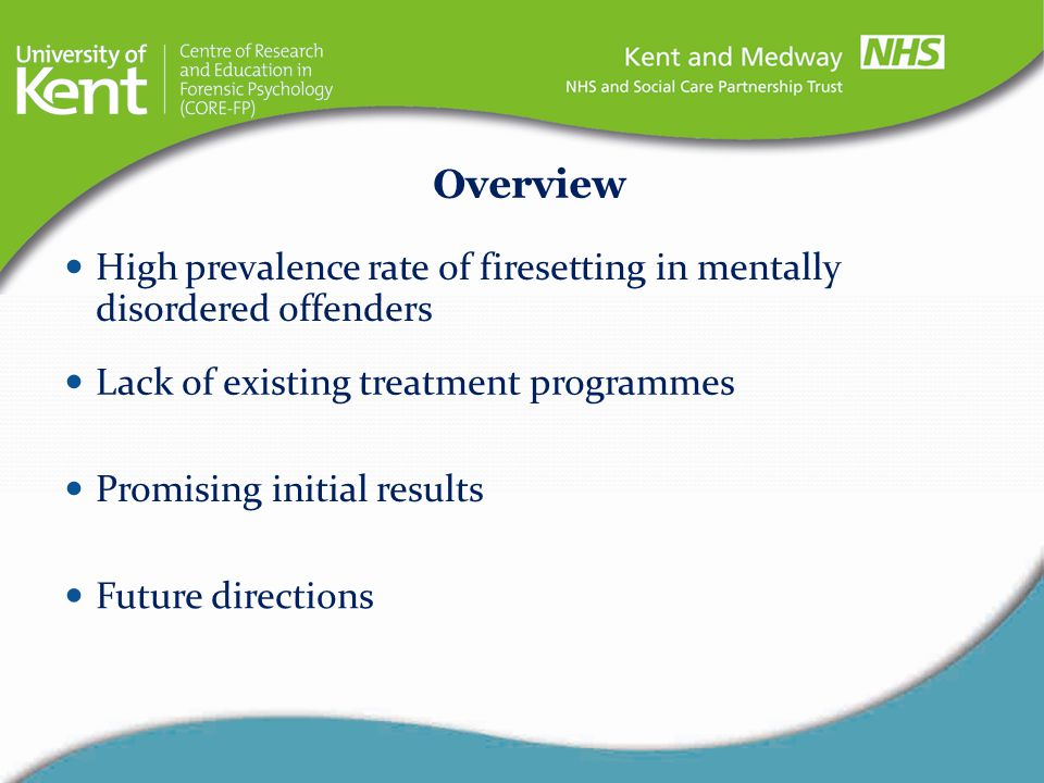 Overview High prevalence rate of firesetting in mentally disordered offenders. Lack of existing treatment programmes.