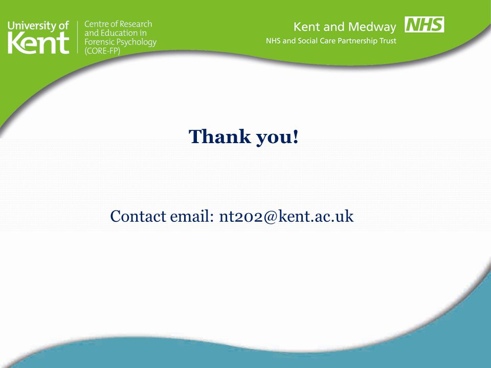 Thank you! Contact email: nt202@kent.ac.uk