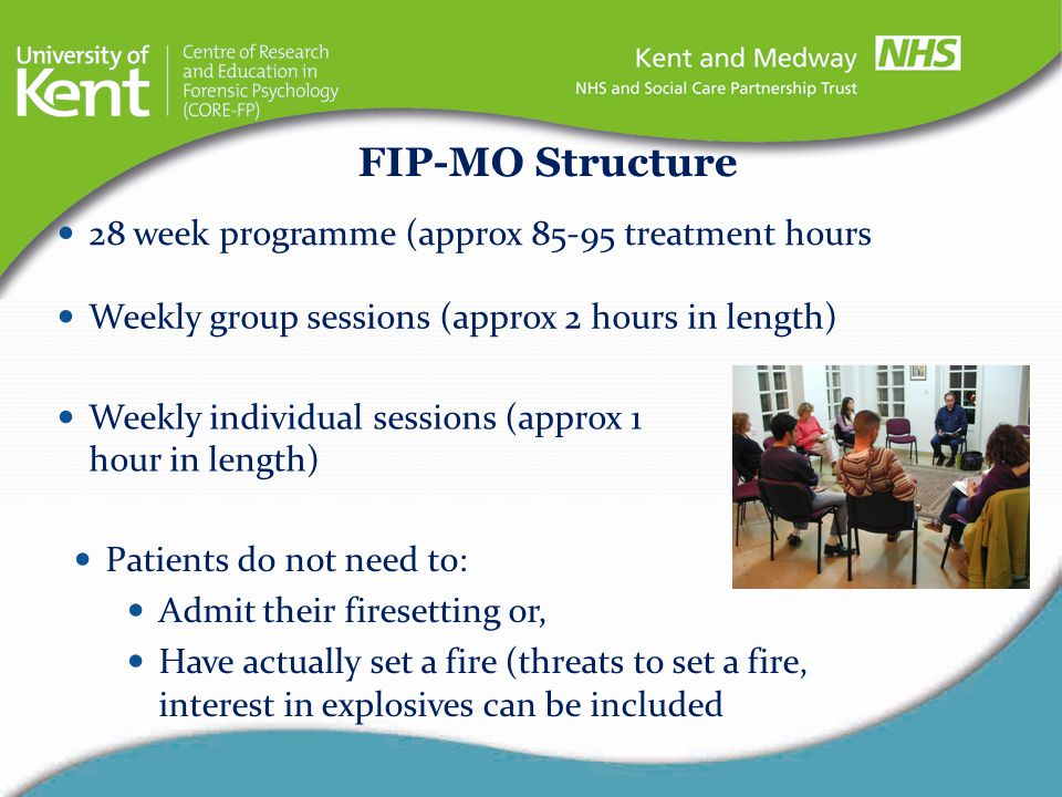 FIP-MO Structure 28 week programme (approx 85-95 treatment hours