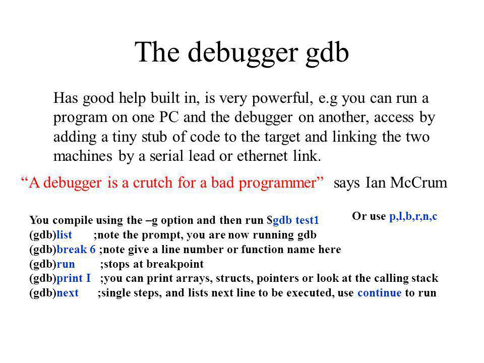 The debugger gdb
