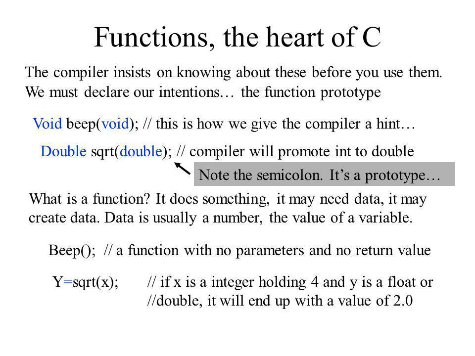 Functions, the heart of C