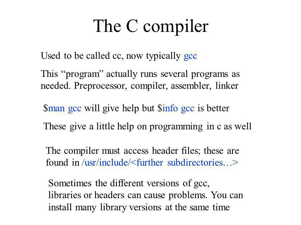 The C compiler Used to be called cc, now typically gcc
