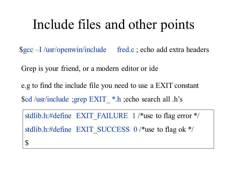 Include files and other points
