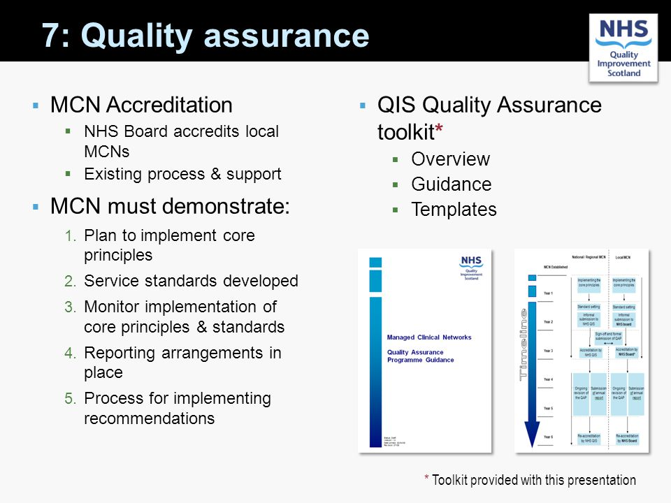 7: Quality assurance MCN Accreditation MCN must demonstrate: