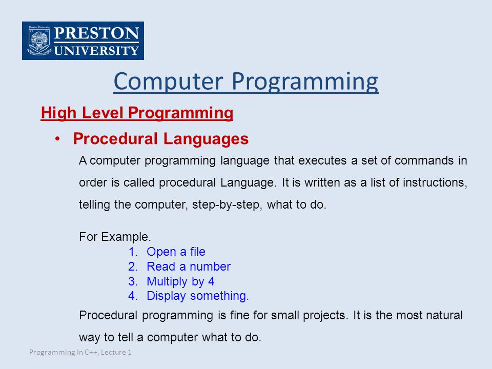 Computer Programming High Level Programming Procedural Languages