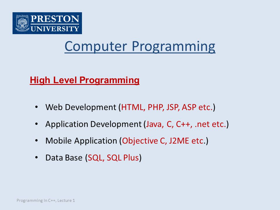 Computer Programming High Level Programming