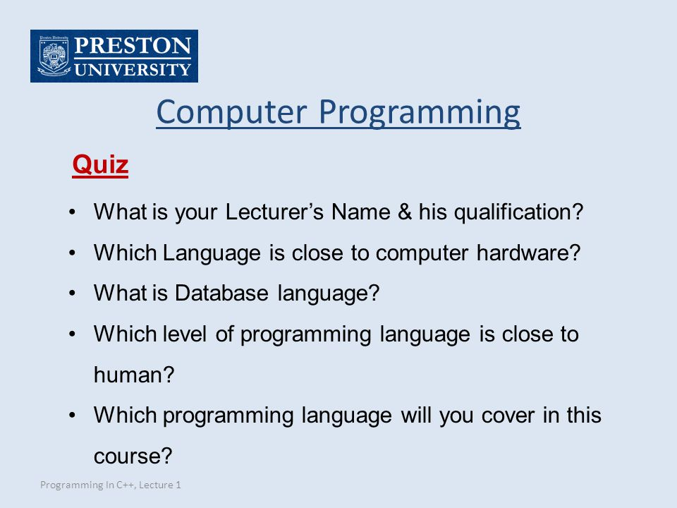 Computer Programming Quiz