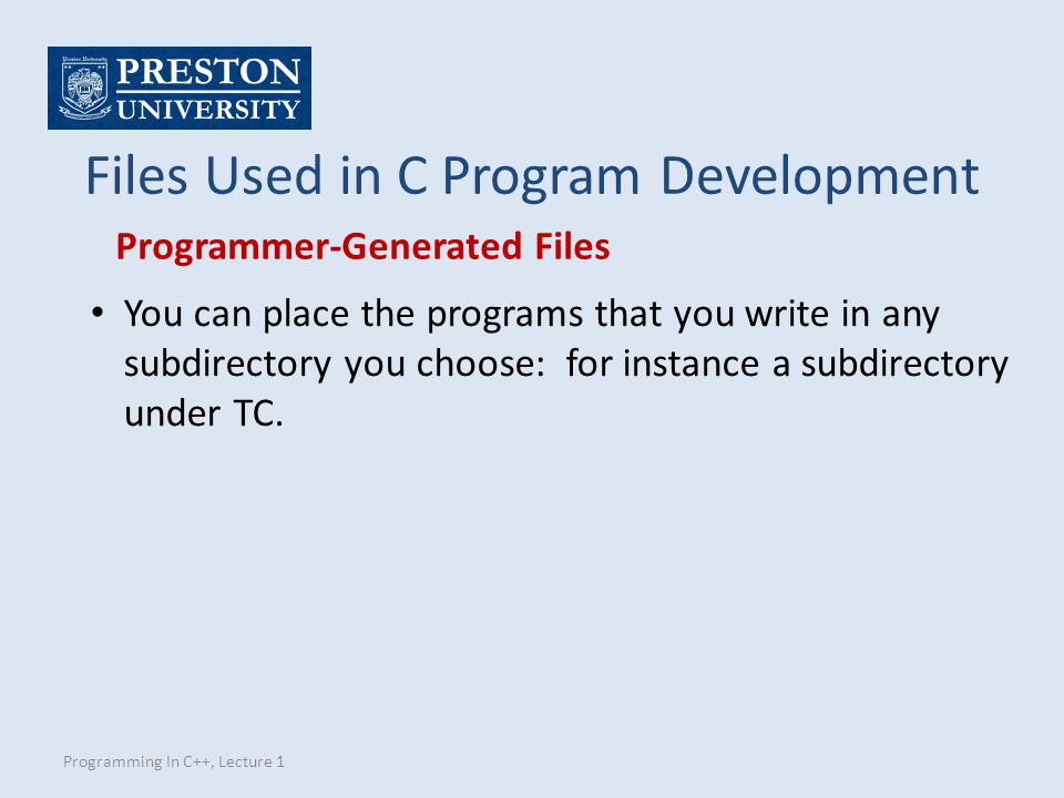 Files Used in C Program Development