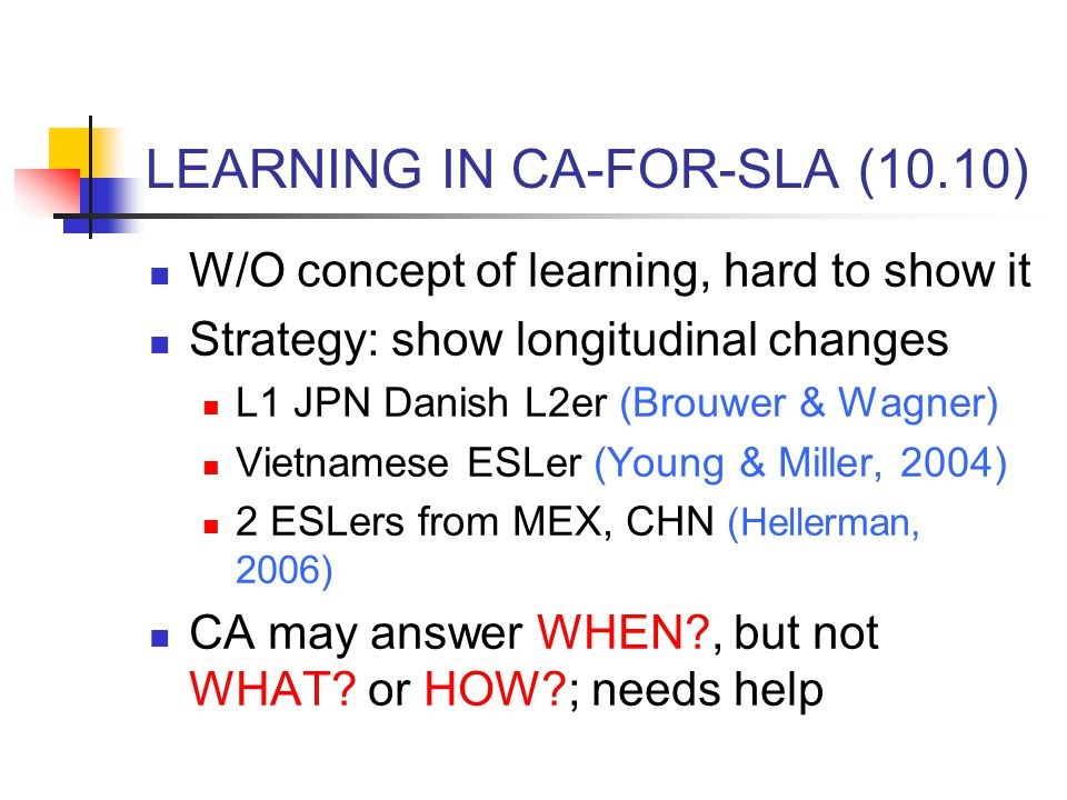 LEARNING IN CA-FOR-SLA (10.10)