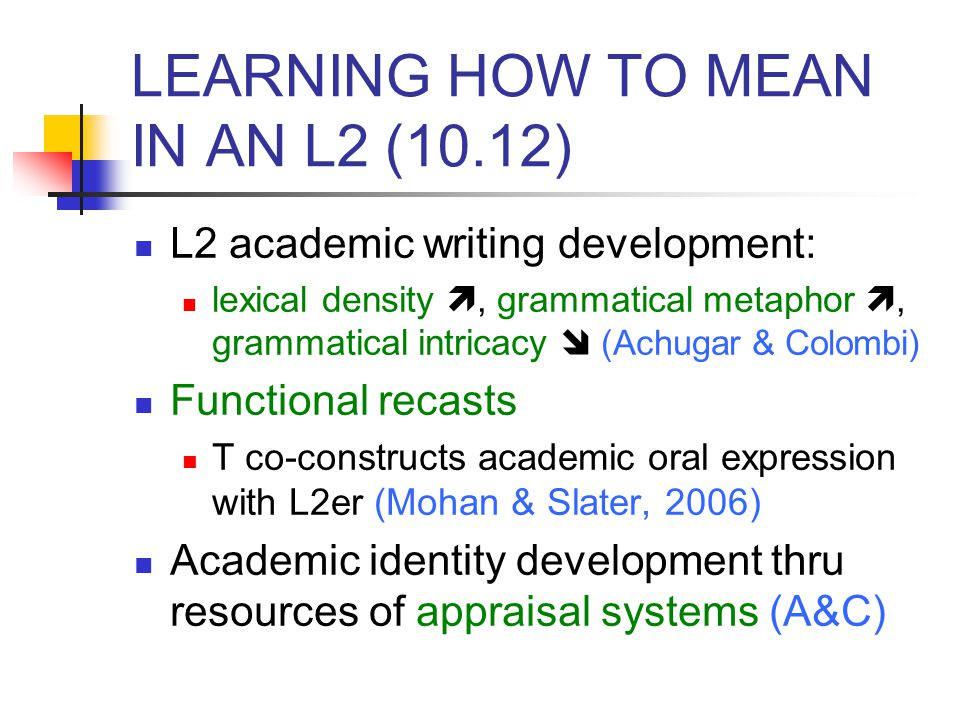 LEARNING HOW TO MEAN IN AN L2 (10.12)