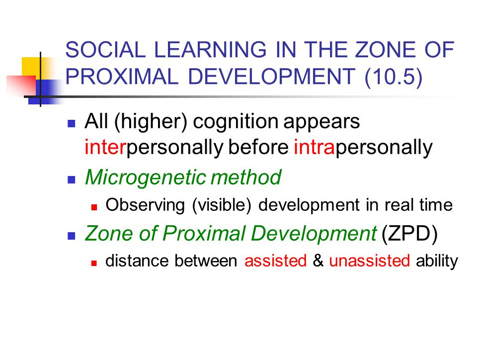 SOCIAL LEARNING IN THE ZONE OF PROXIMAL DEVELOPMENT (10.5)