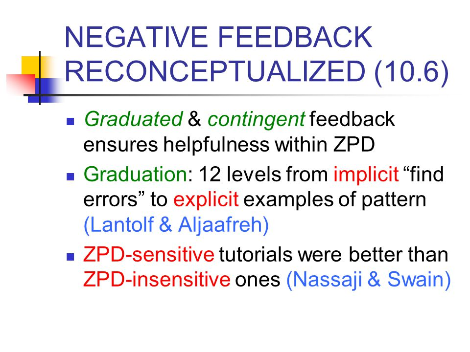 NEGATIVE FEEDBACK RECONCEPTUALIZED (10.6)