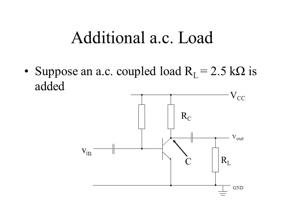 Additional a.c. Load Suppose an a.c. coupled load RL = 2.5 kΩ is added