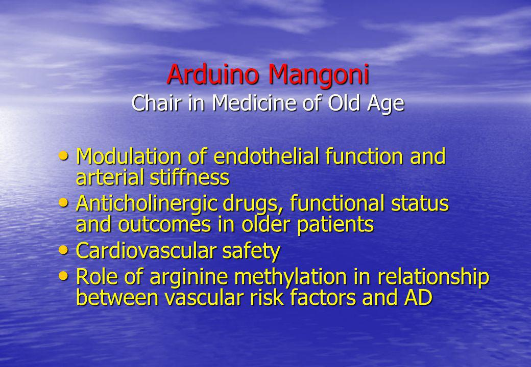 Arduino Mangoni Chair in Medicine of Old Age