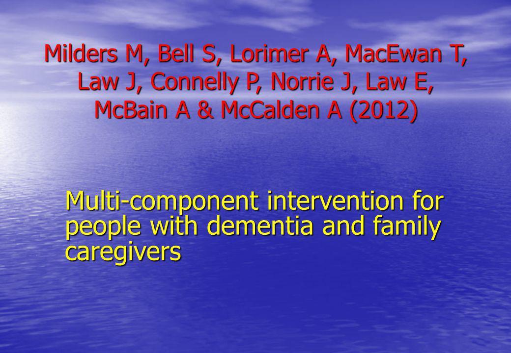 Milders M, Bell S, Lorimer A, MacEwan T, Law J, Connelly P, Norrie J, Law E, McBain A & McCalden A (2012)