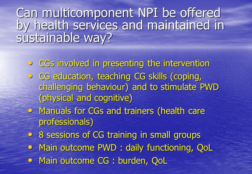 Can multicomponent NPI be offered by health services and maintained in sustainable way