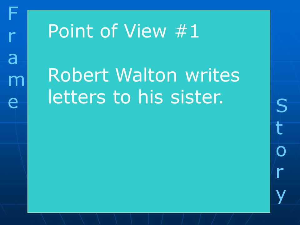 F r a m e Point of View #1 Robert Walton writes letters to his sister. S t o r y