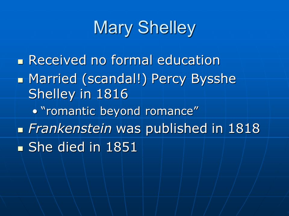 Mary Shelley Received no formal education