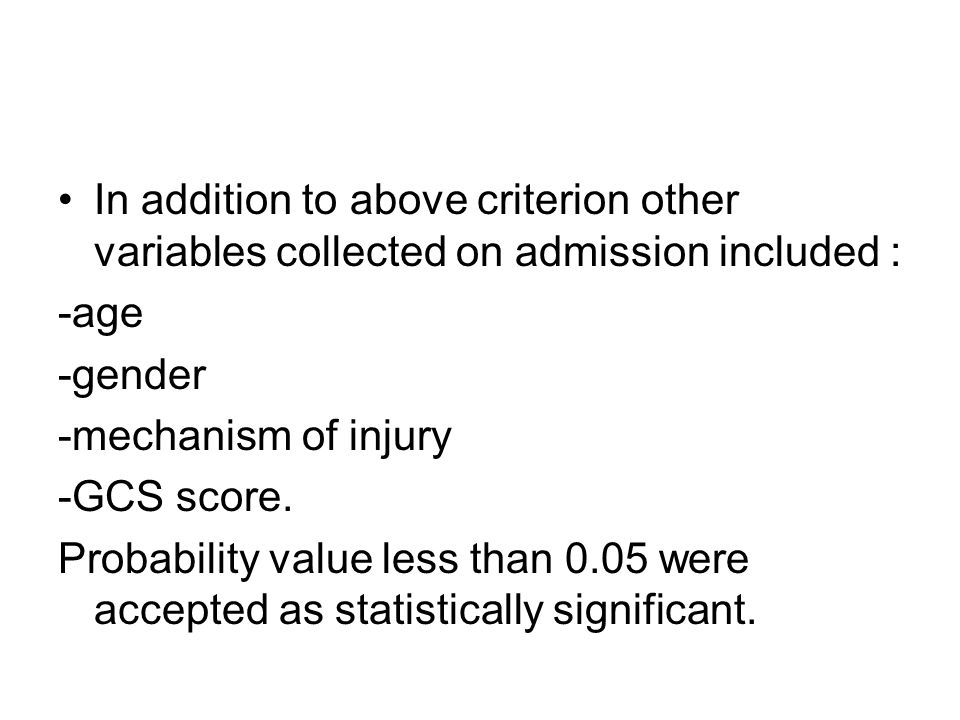 In addition to above criterion other variables collected on admission included :
