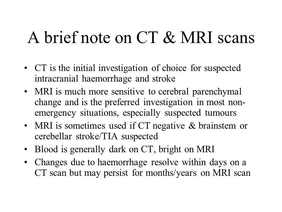 A brief note on CT & MRI scans