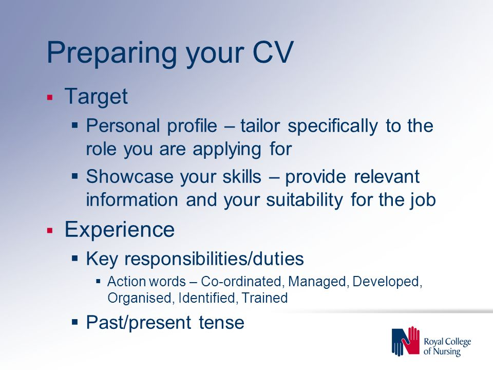 Preparing your CV Target Experience