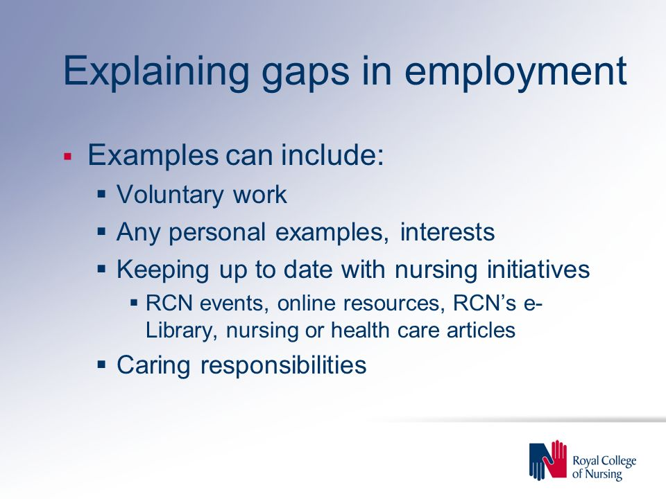 Explaining gaps in employment