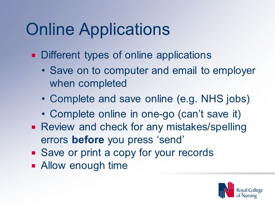Online Applications Different types of online applications