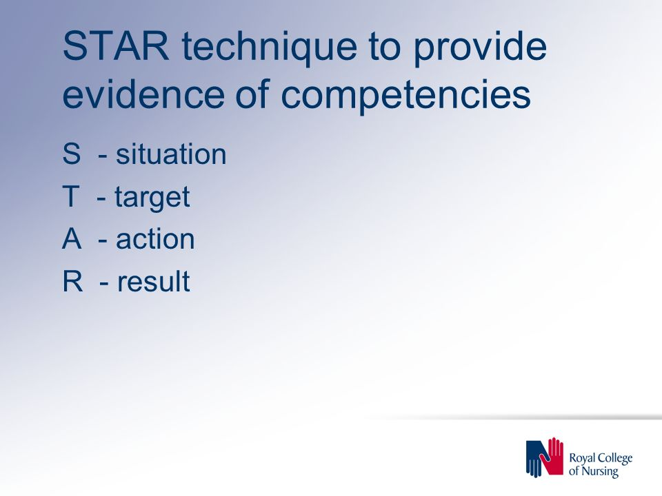 STAR technique to provide evidence of competencies
