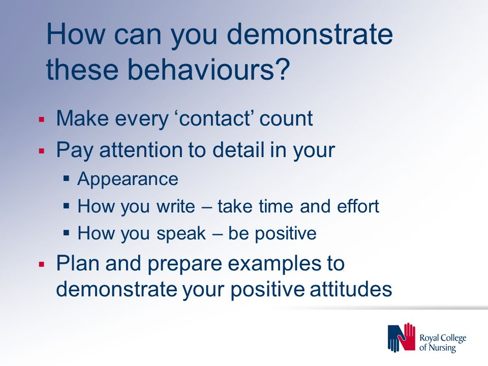 How can you demonstrate these behaviours