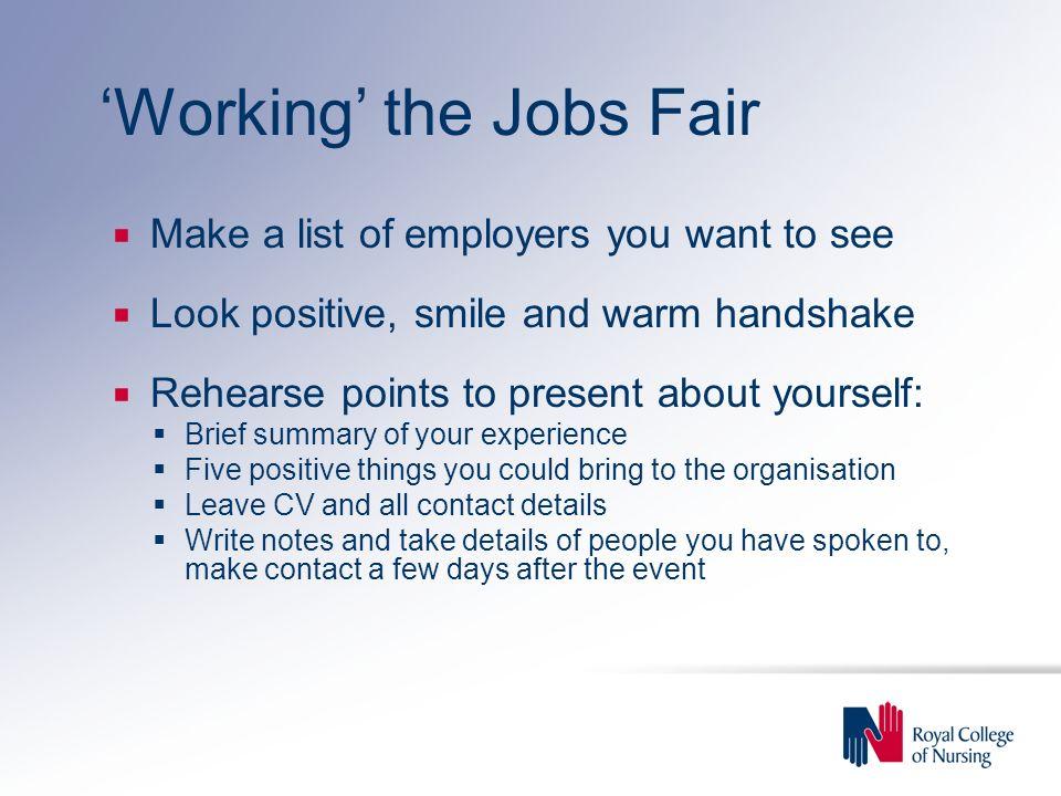'Working' the Jobs Fair