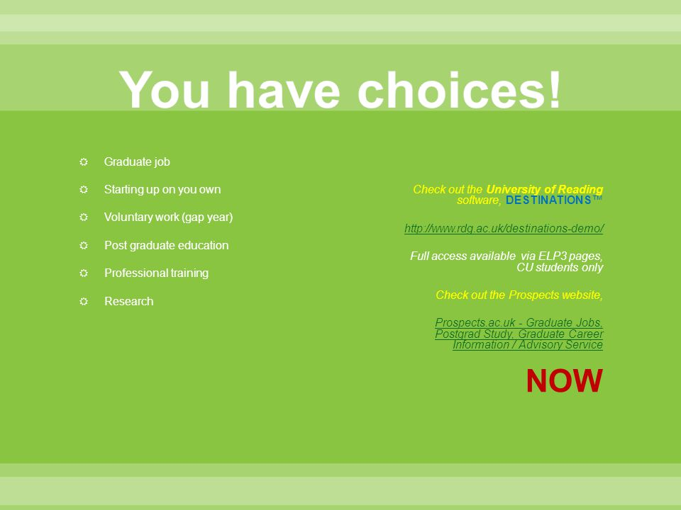 You have choices! NOW Graduate job Starting up on you own