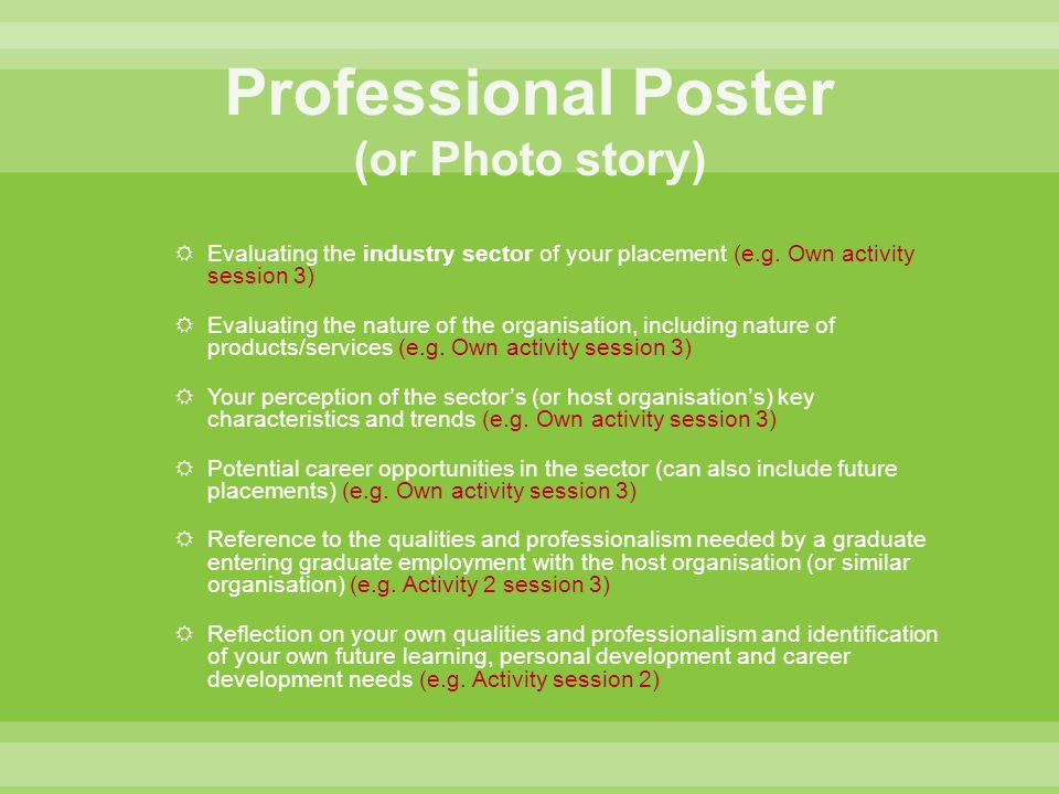 Professional Poster (or Photo story)