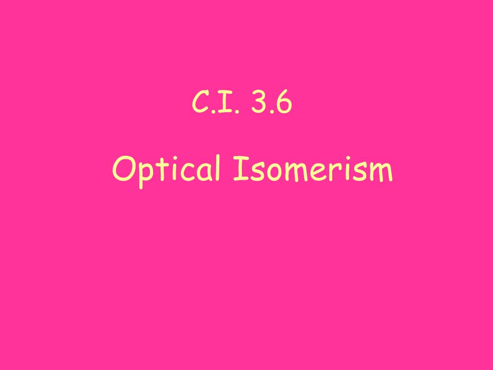 C.I. 3.6 Optical Isomerism