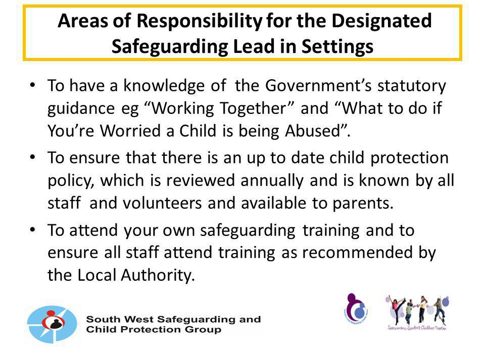Areas of Responsibility for the Designated Safeguarding Lead in Settings