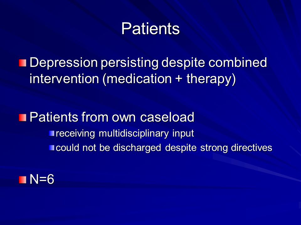 Patients Depression persisting despite combined intervention (medication + therapy) Patients from own caseload.
